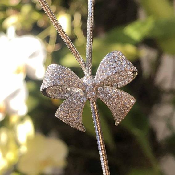 Colar De Prata 925 Gravata Laço Cristal