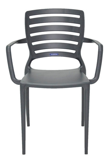Cadeira Sofia Grafite Com Braço Encosto Vazado Horizontal Em