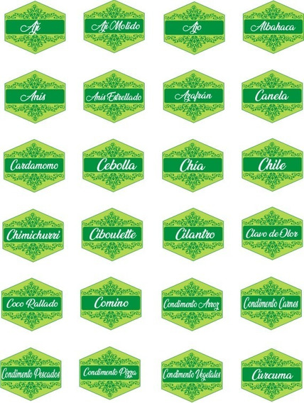 Etiquetas Frascos Especieros X56 Exagono Color Para Imprimir