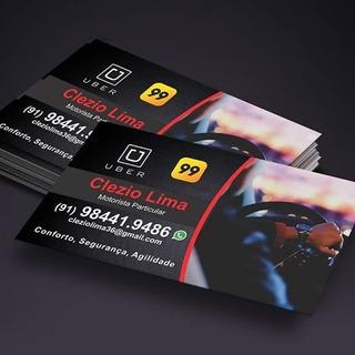 Cartão De Visita P/ Uber, 99 E Taxi C/ Arte Grátis