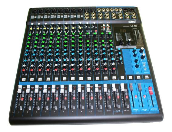 Mesa De Som 16 Canais Le-716 Mp3 Microfone Cultos Igrejas