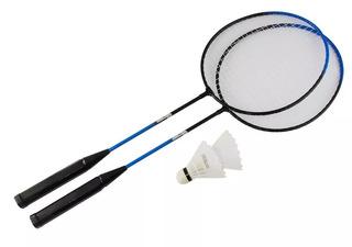 Jogo Kit Raquete Badminton 2 Raquetes 2 Petecas 1 Estojo