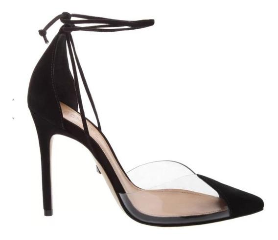 Sapato Scarpin Inspiração C/vinil Transparente C/ Amarração