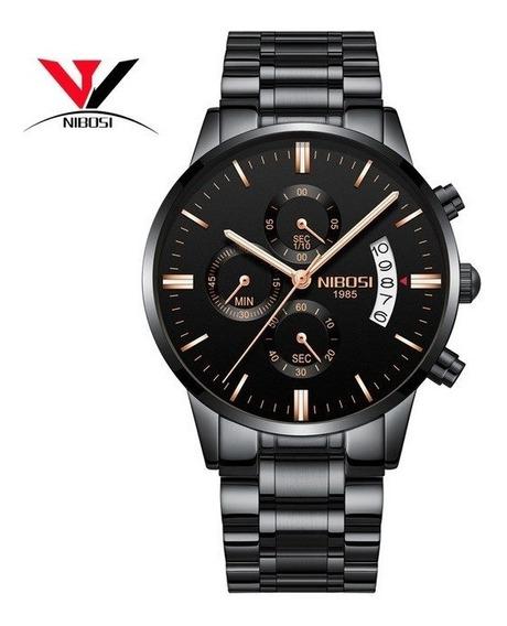 Relógio Nibosi Luxo Original Preto 100% Funcional Masculin