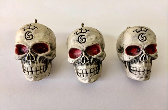 Chaveiro Caveira Crânio Com 4 Unidades