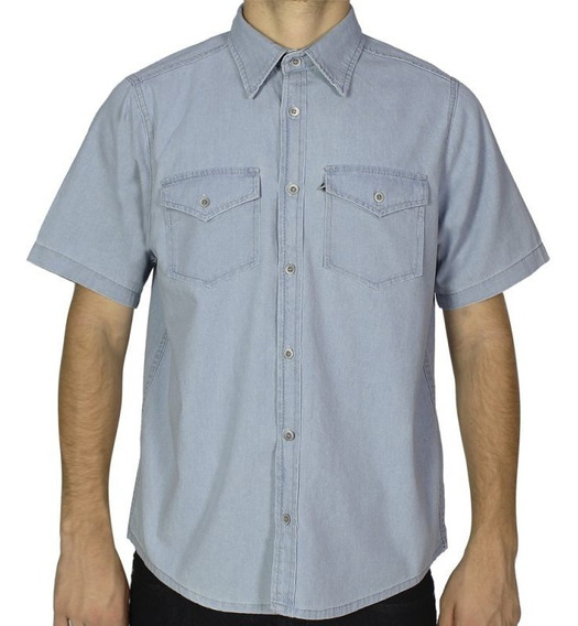 Camisa Jeans Manga Curta Delave Direto Da Fábrica