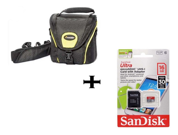 Cartão Sdhc 16gb Ultr Sd Sandisk + Bolsa Case Camera Digital