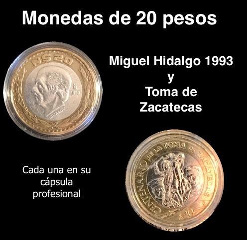 2 Monedas 20 Pesos, Hidalgo Y Toma Zacatecas, Con Cápsulas