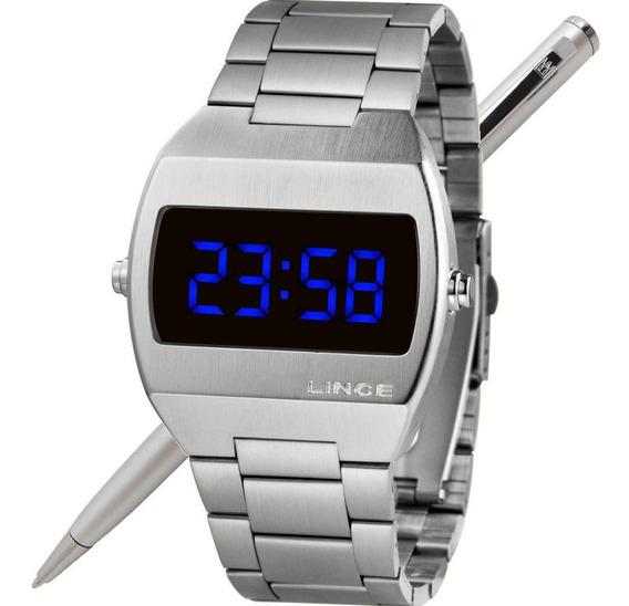 Relógio Lince Led Unissex Mdm4621l Dxsx Prateado - Led Azul