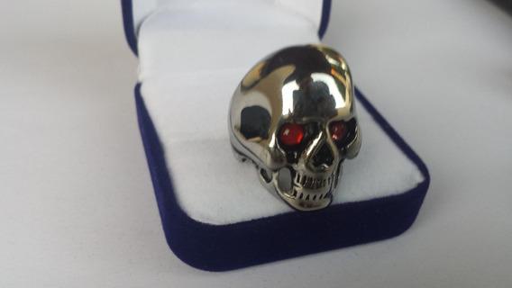 Anel Gigante Prata 950 Masculino Caveira Cranio Rubi