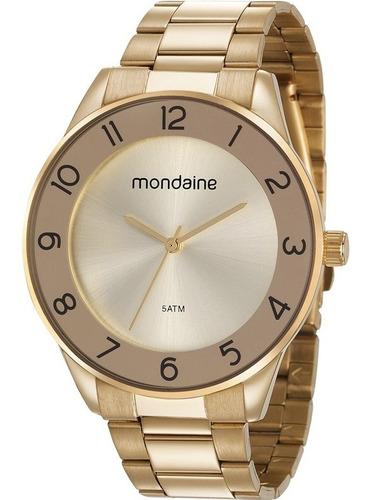 Relógio Mondaine Feminino Original Dourado Luxo Prova D'água