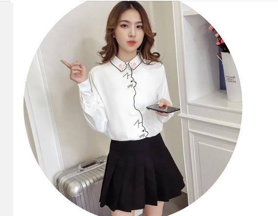Blusa Moda Japonesa Oficina Gatos Kawaii Dama Elegante Slim