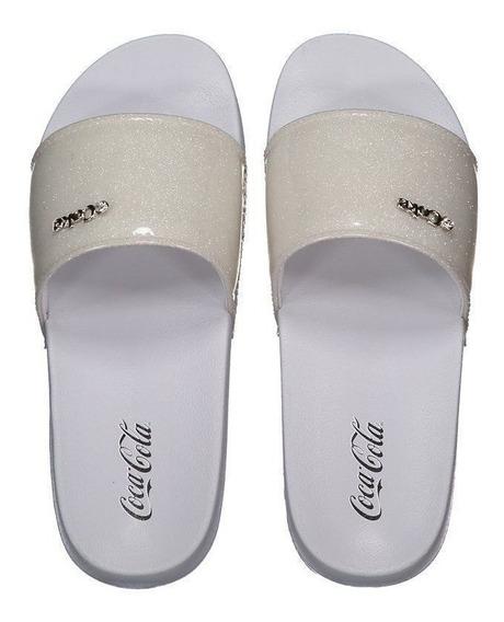 Chinelo Coca Cola Slide Glitter Branco