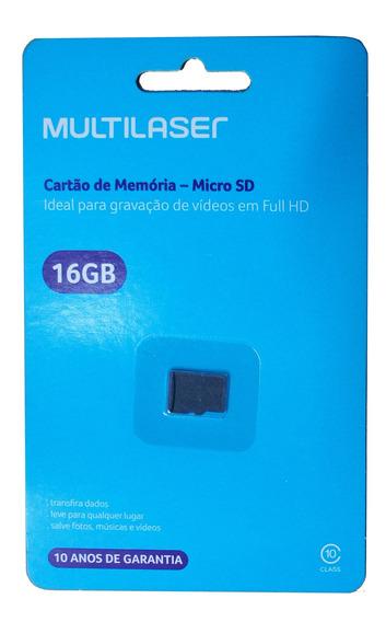 Cartão Memória Micro Sd 16 Gb Classe 10 Original Multilaser