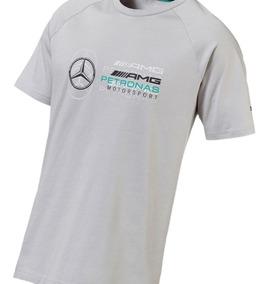 Camiseta Mercedes Lewis Hamilton Logo Masculina Cinza Puma