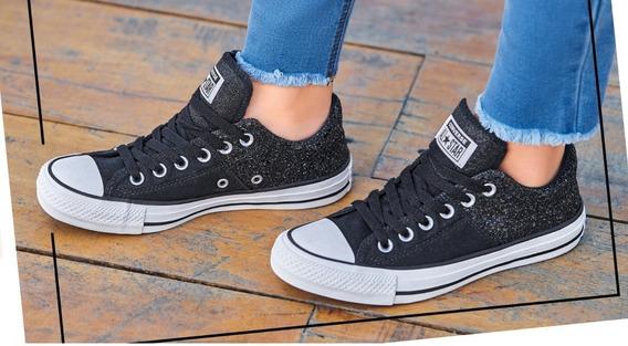 Tenis Converse Original Dama Mujer Sneakers Casual Gliter Ne