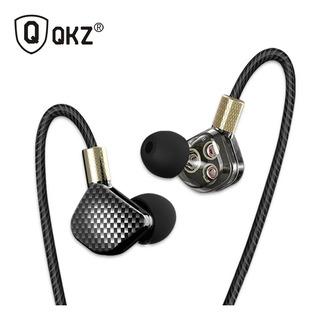 Audífonos Qkz Kd6 Tipo Fibra Carbono Con Micrófono 3 Drivers