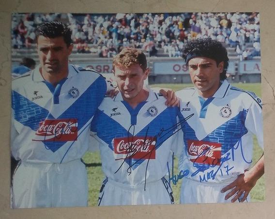 Foto Firmada Hugo Sanchez Butragueño Michel Con Coa Celaya