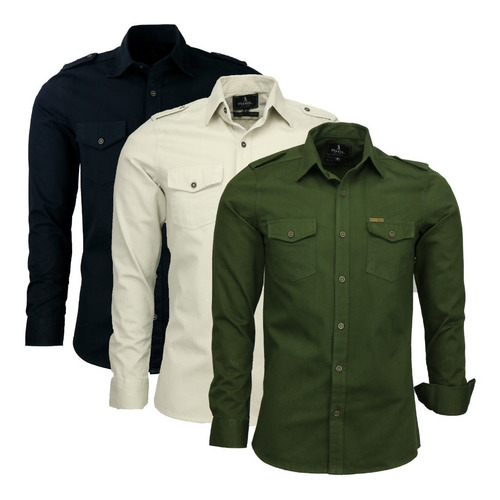 Imagem 1 de 4 de Kit 03 Camisas Masculina Slim Paris M Longa Estilo Militar