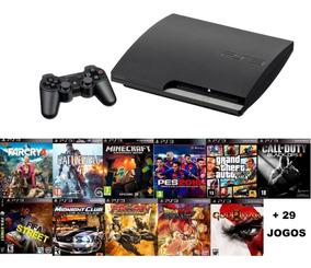 Playstation 3 Slim 160gb Ps3 + Controle + 40 Jgs - Fifa 19