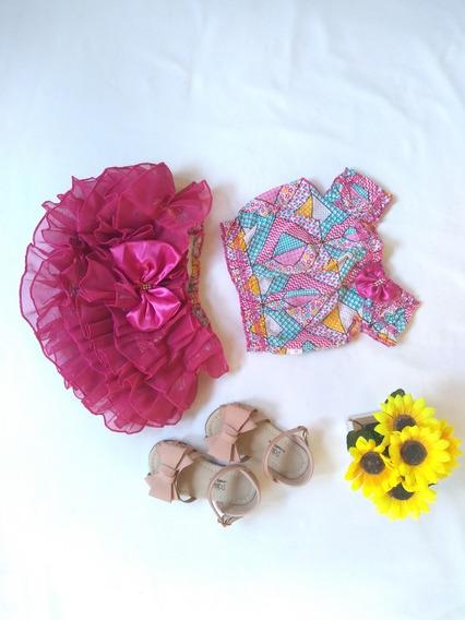 Bunda Rica + Crooped Luxo Moda Infantil Rosa Chiclete