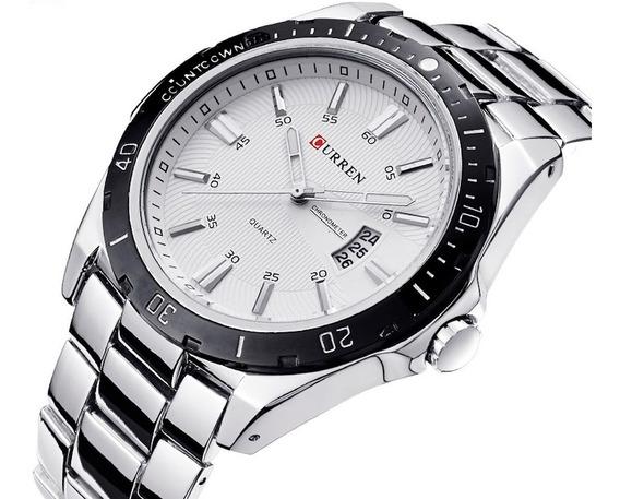 Relógio Masculino Luxo Aço Inox Calendário Resistente A Água