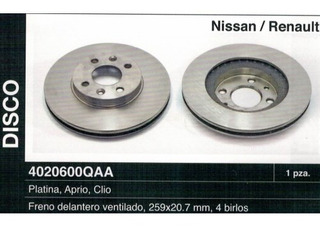 Disco Freno Delantero Nissan Platina Aprio Clio