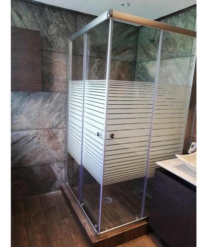 Imagen 1 de 6 de Cancel De Baño Cristal Templado 100x100 Franjas Biseladas