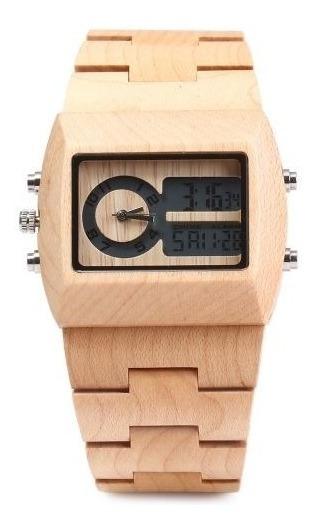 Relógio Madeira Bewell Original Quadrado Anaógio/digital