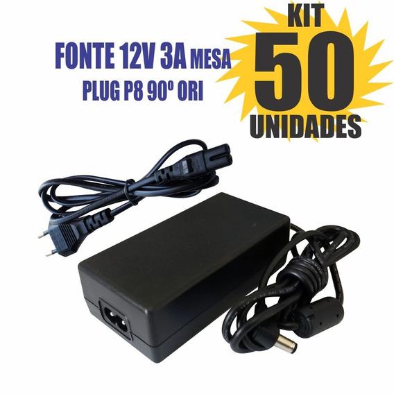 Kit 50 Peças Fonte Chaveada 12v 3a Plug P8 90º