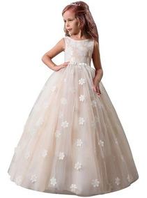 Vestido Primera Comunión Fiesta Elegante Flores Bordadas