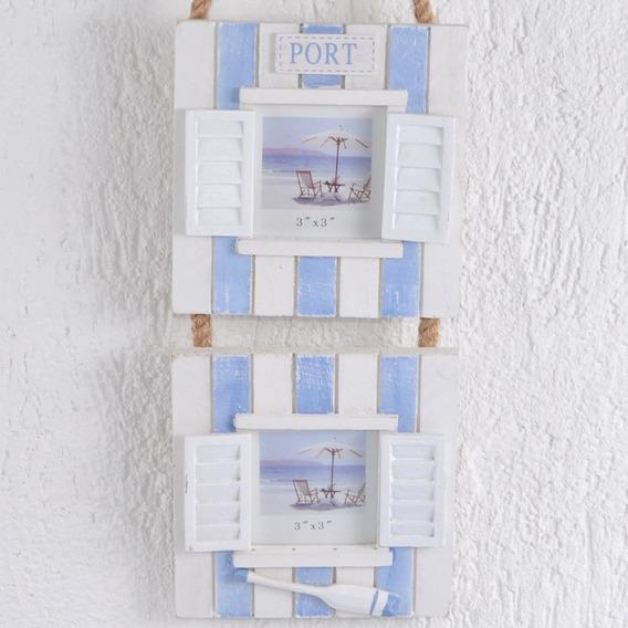 Porta Retrato Janela Duplo Madeira Pátina Azul Alça De Corda