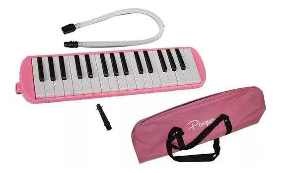 Melodica A Piano Parquer 32 Notas Rosa Con Funda Manguera