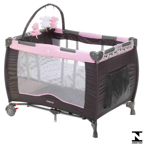Berço Desmotável Portátil 110 X 76cm Toybar Rosa Cosco