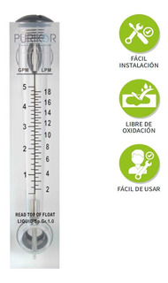 Flujómetro Rotámetro De 1-5 Gpm Para Medir Líquidos Y Gases