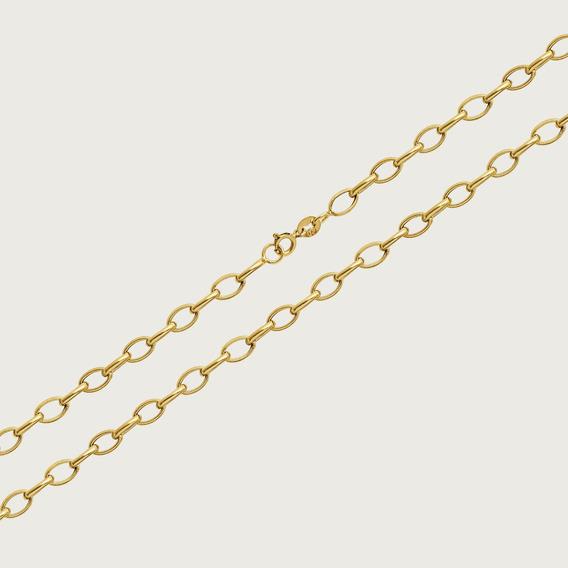 Cordão Elo Oval Em Ouro18k Com 45cm 13 3,5gr