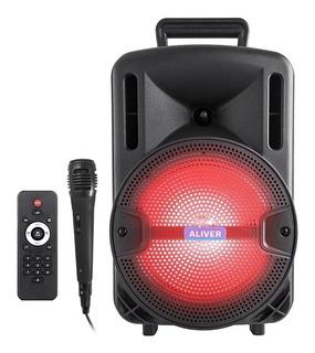 Parlante Aliver 8001 Led + Micrófono Y Control Remoto Nuevo