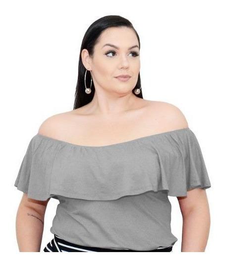 Roupa Feminina Plus Size Blusa Cigana De Malha Babado