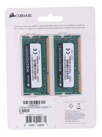 Kit Mac Corsair 16gb 2x8gb Ddr3 - 1600 Mhz Mac Book E iMac