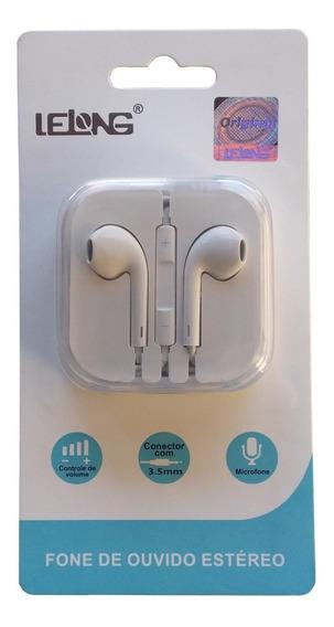 Fone De Ouvido Com Microfone Intra Auricular Estéreo Branco