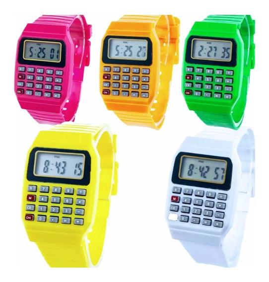Relógio Calculadora Várias Cores Unissex Pulseira Silicone
