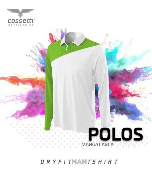 Playera Tipo Polo Cossetti Manga Larga Dry Fit Crossline Xl