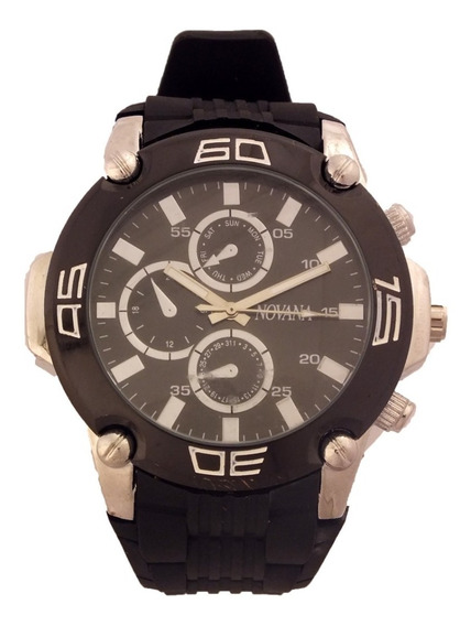Relógio De Pulso Masculino Novana Pulseira Em Borracha B5704