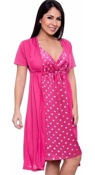 Conjunto Camisola E Robe Maternidade Estampada 026
