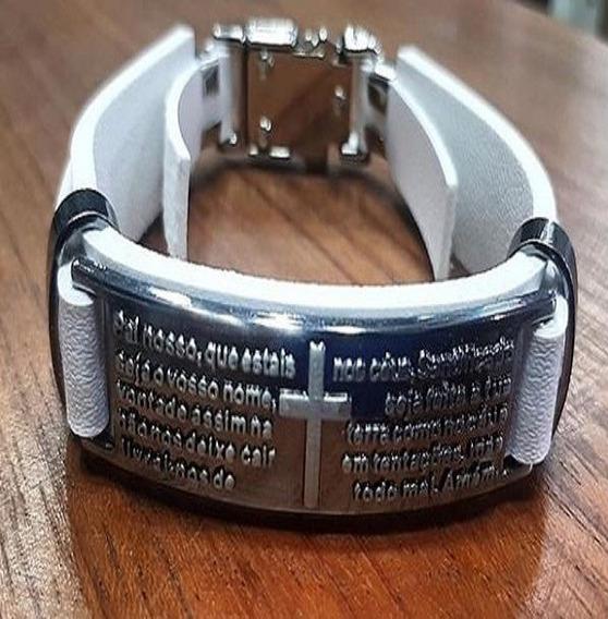 Pulseira Masculina Pai Nosso Bracelete Branca
