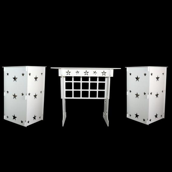 Mesa+02 Cubos Estrelas Pintado Em Mdf !