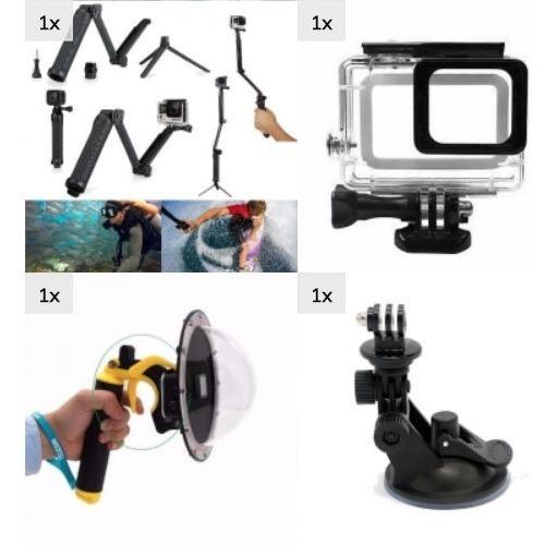 Kit Gopro Ação Estanque Ventosa Dome Hero 5 6 7 Black