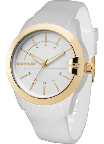 Relógio Feminino Mormaii Branco Dourado Original Nota Fiscal