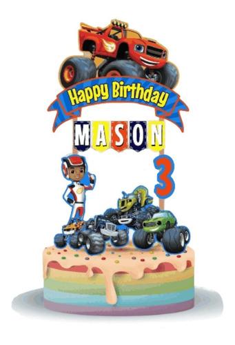 Imagen 1 de 5 de Cake Topper Blaze Monster Machines Adorno Para Tortas