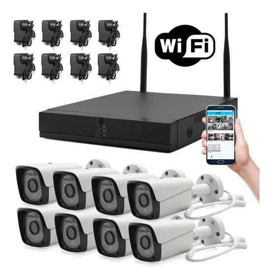 Kit 8 Cámaras Wifi Full Hd Ip Nvr Inalámbrico Exterior 1080p